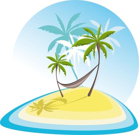 hammocks: semplice illustrazione con isola tropicale