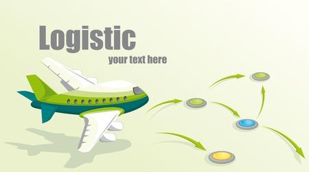 avion caricatura: Ilustraci�n con el avi�n. Concepto log�stico.