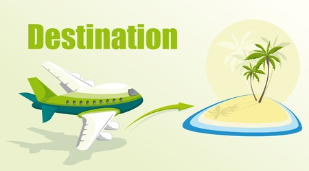Illustration with plane and island. Vector