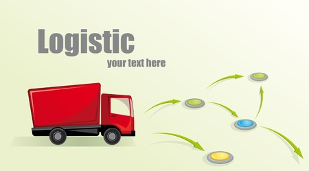 Illustration with truck. Logistic concept. Vector