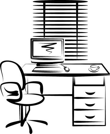 Ilustración con el lugar de trabajo de Oficina Ilustración de vector