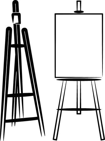exposition art: simple illustration avec chevalets Illustration