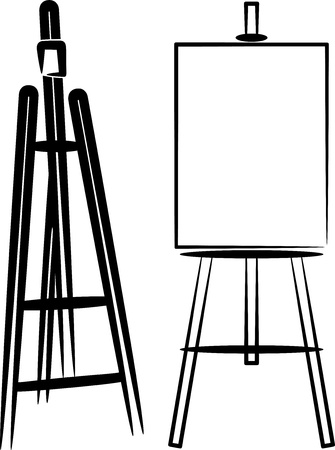 blank canvas: simple illustration with easels