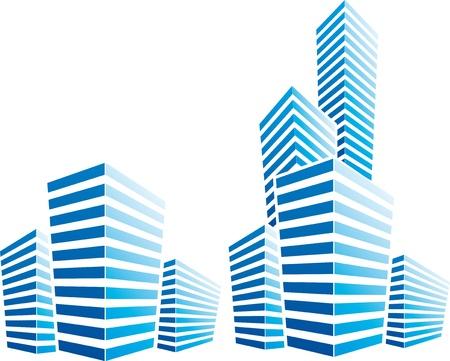 symbolic illustration with cityscape Vetores