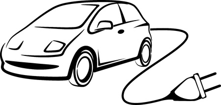 electric automobile: simple illustration with electric car Illustration