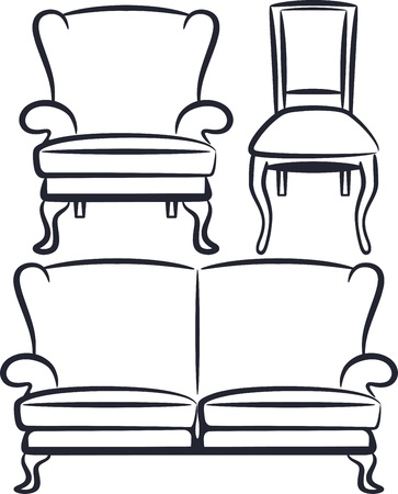 Stuhl: Reihe von antiken M�beln