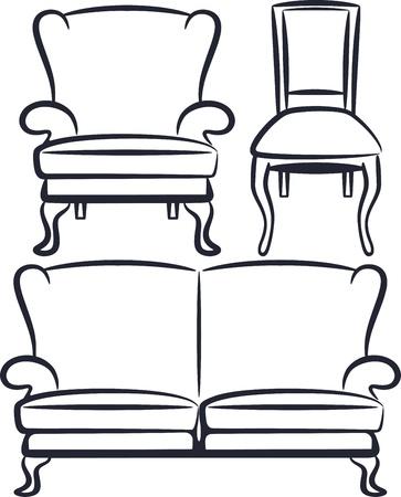 chair wooden: set of vintage furniture