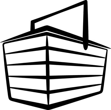 basket icon: illustration with a store basket Illustration