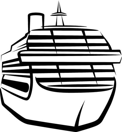 cruising: semplice illustrazione con una nave Vettoriali