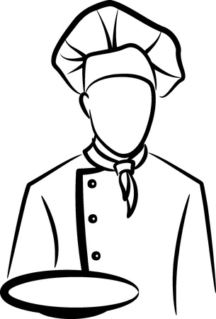 chefs cooking: simple illustration with a chef