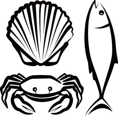 almeja: simple ilustraci�n con mariscos Vectores