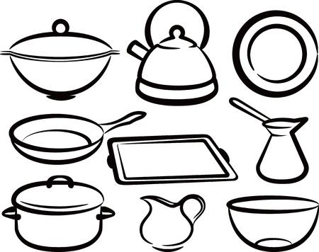 pan: set of kitchen utensil
