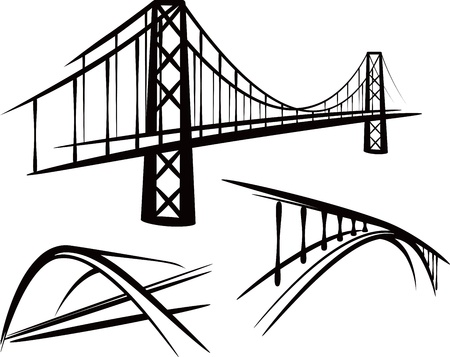suspension bridge: set of bridges Illustration