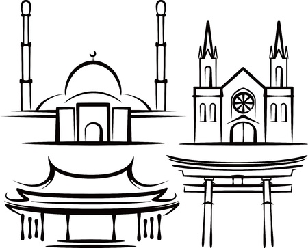 illustration with places of worship Vector