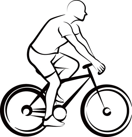 bike riding: simple illustration with a bicycler Illustration