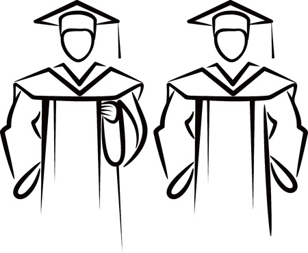 birrete de graduacion: Ilustraci�n simple con un graduado