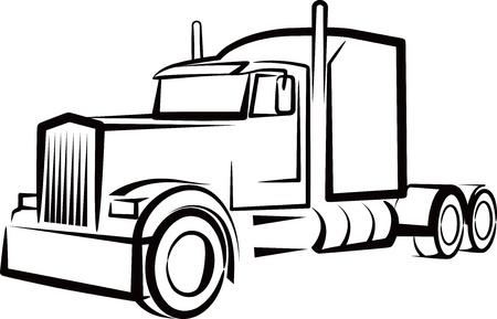 outline drawing: illustrazione semplice con un camion Vettoriali