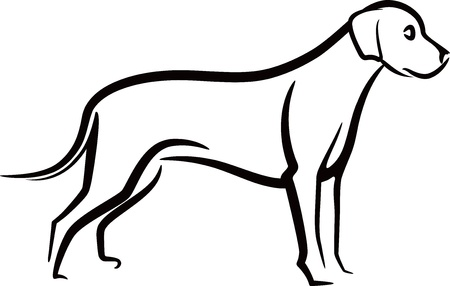 dog outline: simple illustration with a dog