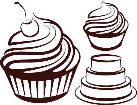 tarte aux cerises: illustration simple avec des desserts