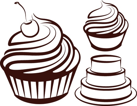 confection: simple illustration with desserts