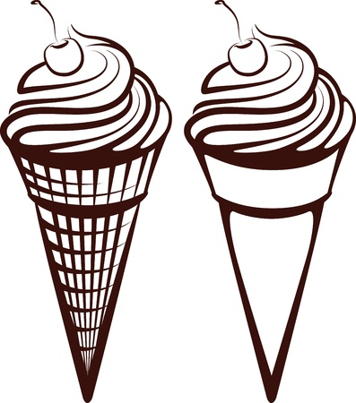 dairy product: simple illustration with an ice-cream