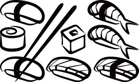 eenvoudige illustratie met een set van sushi