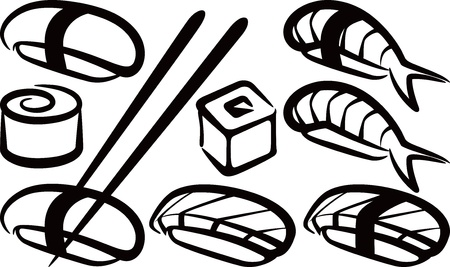 japanese food: simple illustration with a set of sushi
