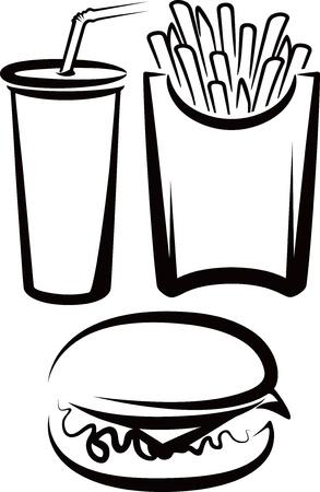 eating fast food: simple ilustraci�n con comida r�pida