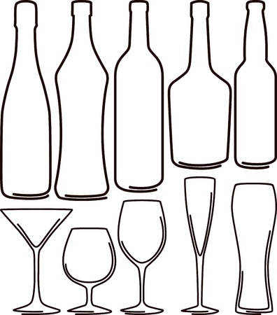 bottles  and glasses set