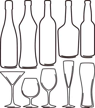 vodka: bottles  and glasses set