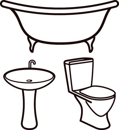 set of bathroom elements