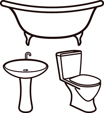 domestic bathroom: set of bathroom elements