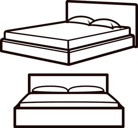 sosie: illustration simple avec des lits Illustration
