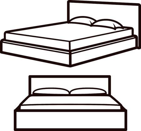 dormir habitaci�n: Ilustraci�n simple con camas