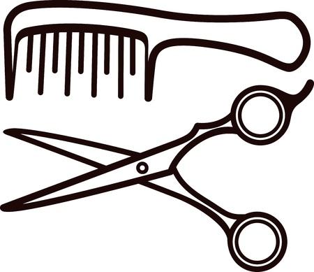 coupe de cheveux homme: Ciseaux et peigne Illustration