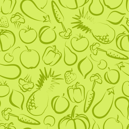 seamless background with fruit and vegetables Illustration