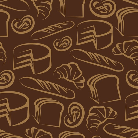 loaf of bread: Seamless background  with baking items Illustration