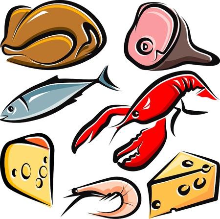 Ilustración con un conjunto de alimentos crudos