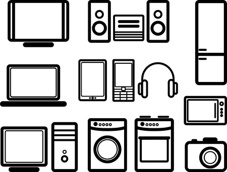 kitchen device: set of electronic devices Illustration