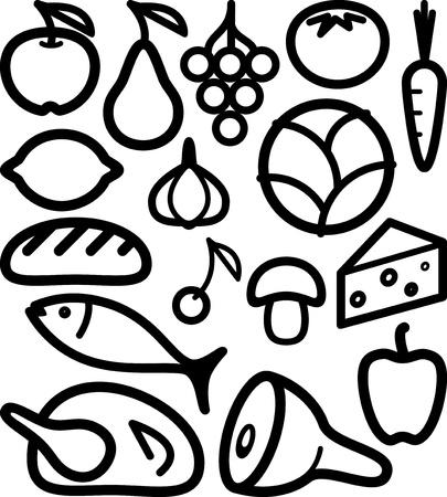 jamon y queso: un conjunto de ingredientes de los alimentos Vectores