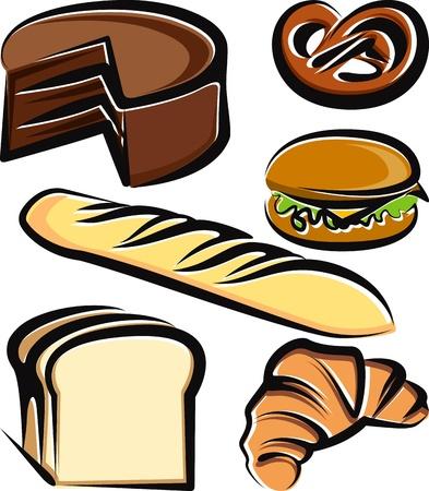 Illustratie met een set van het bakken van artikelen