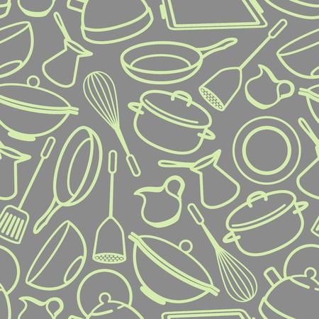 naadloze achtergrond met keukengerei