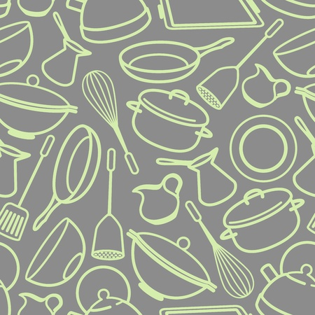 seamless background with kitchen utensil Illustration