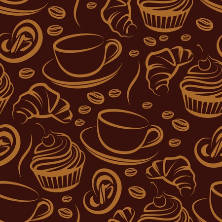 croissants: coffee break. seamless background Illustration