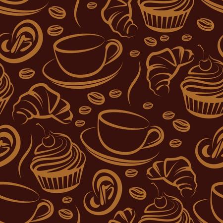 pasteles: Pausa para el caf�. de fondo sin fisuras Vectores