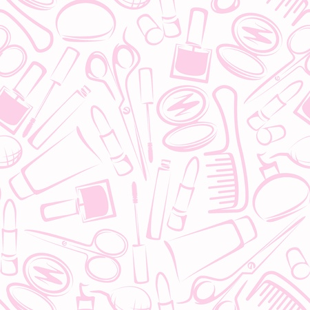 blush: Seamless background with cosmetics Illustration