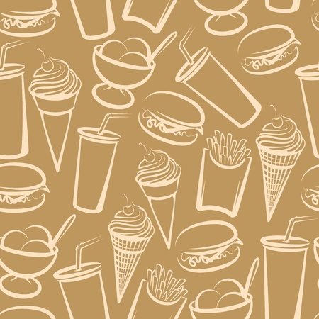 comida americana: de fondo sin fisuras con la comida r�pida Vectores