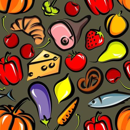 seamless background with food Çizim