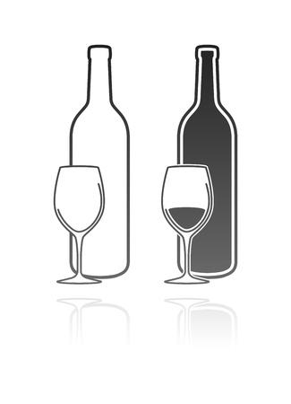 stylized design: bicchiere di vino e l'icona bottiglia Vettoriali