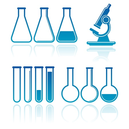 beaker: conjunto de equipos de laboratorio Vectores